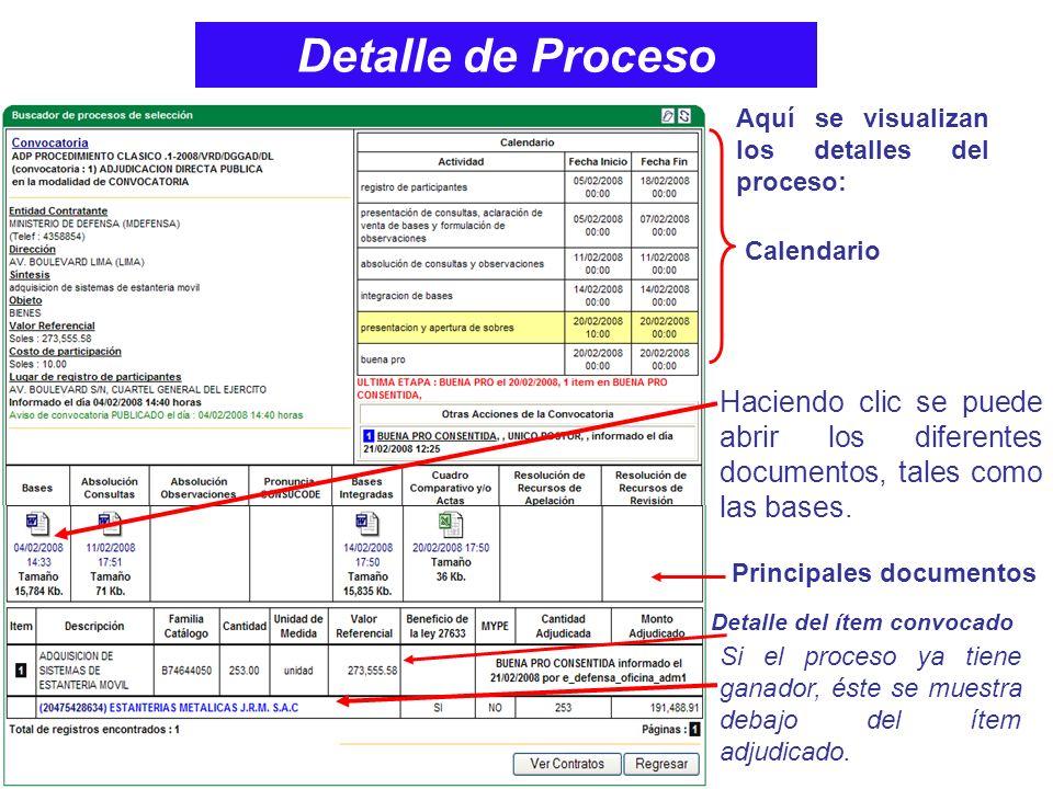 Detalle de Proceso Aquí se visualizan los detalles del proceso: Calendario.
