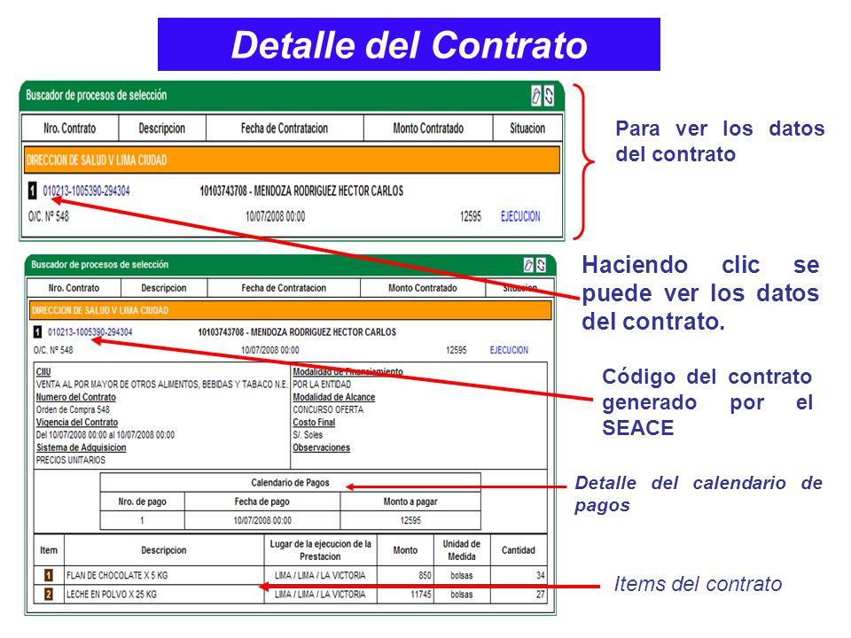 Detalle del Contrato Para ver los datos del contrato. Haciendo clic se puede ver los datos del contrato.