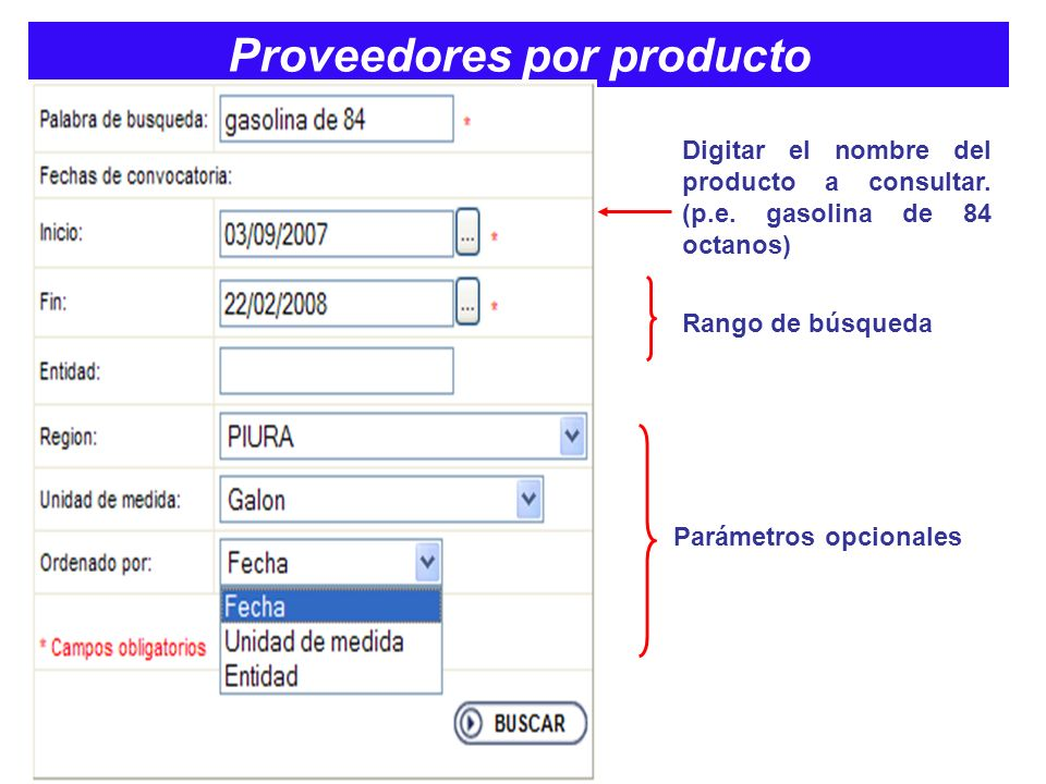 Proveedores por producto