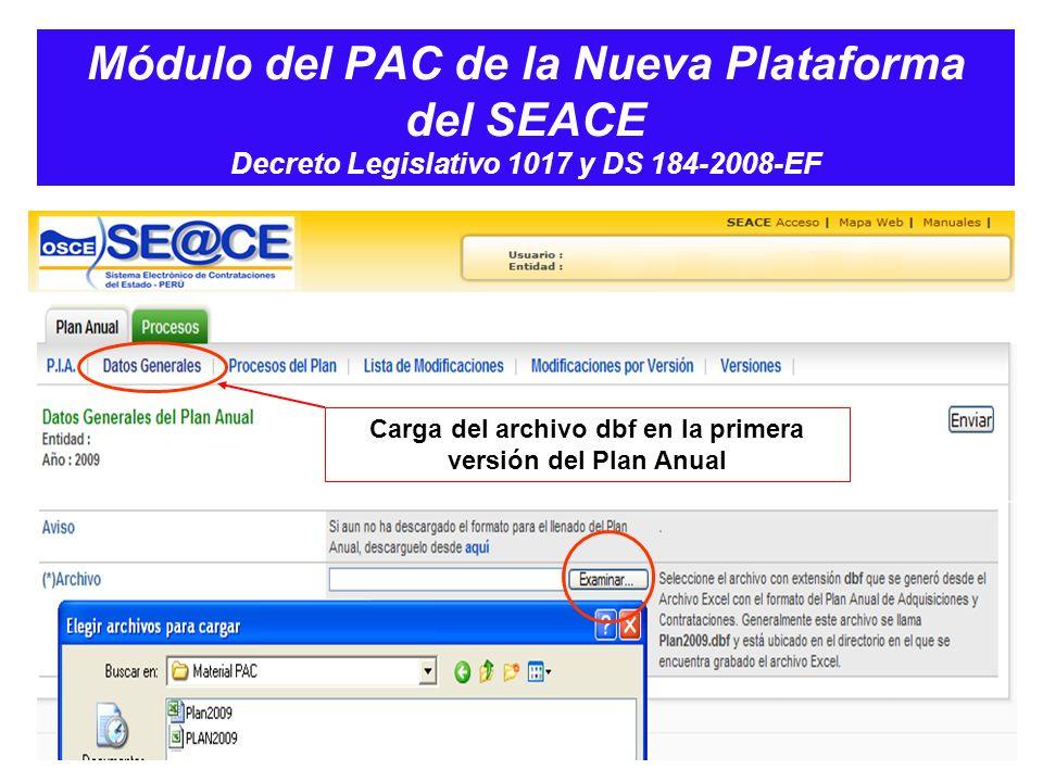 Carga del archivo dbf en la primera versión del Plan Anual