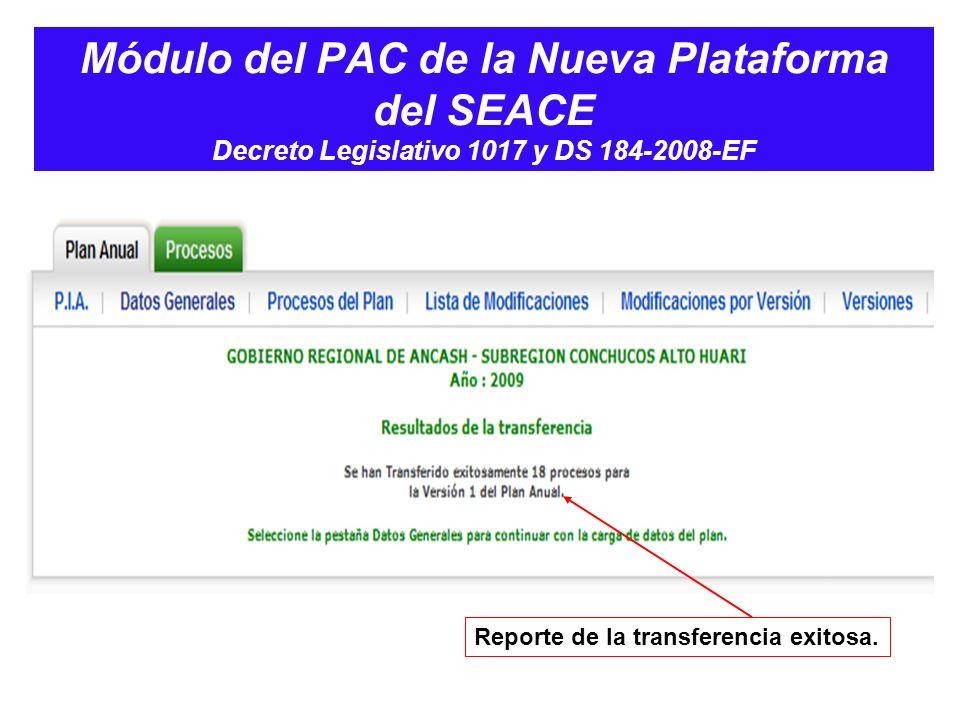 Módulo del PAC de la Nueva Plataforma del SEACE Decreto Legislativo 1017 y DS 184-2008-EF