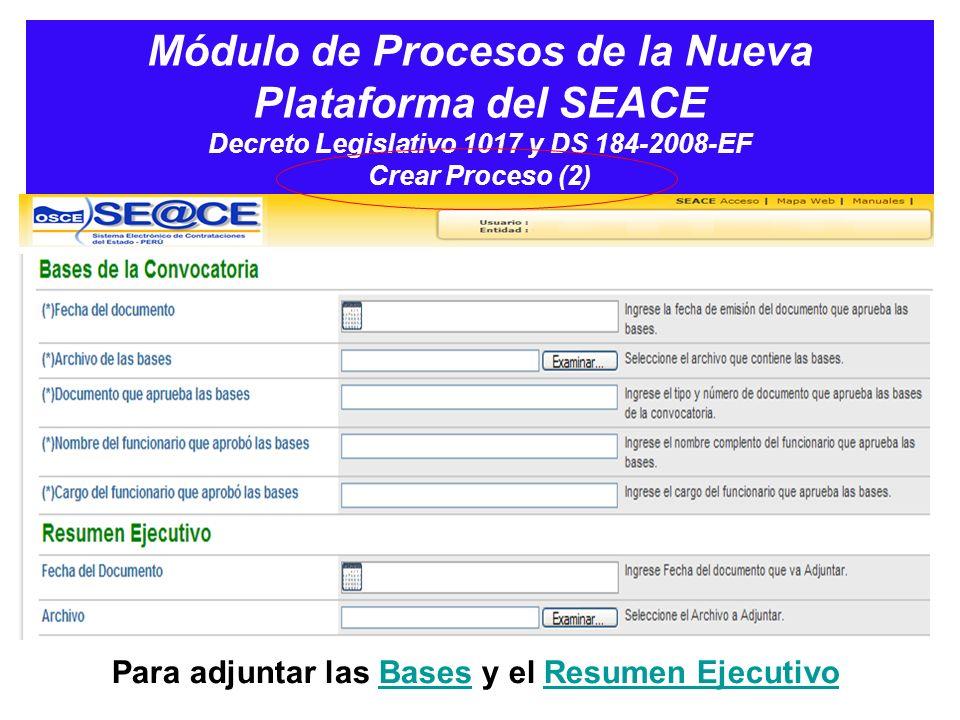 Módulo de Procesos de la Nueva Plataforma del SEACE Decreto Legislativo 1017 y DS 184-2008-EF Crear Proceso (2)