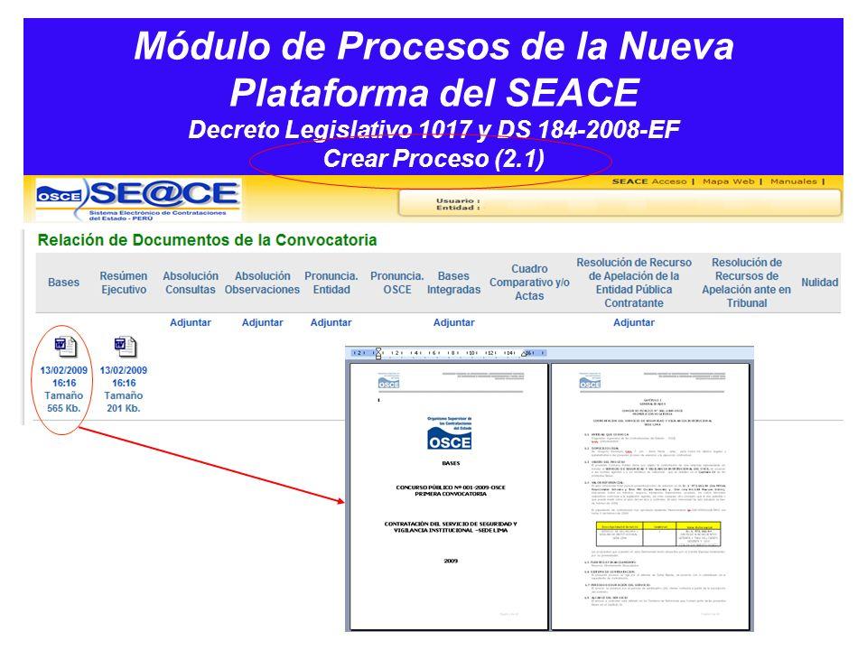 Módulo de Procesos de la Nueva Plataforma del SEACE Decreto Legislativo 1017 y DS 184-2008-EF Crear Proceso (2.1)