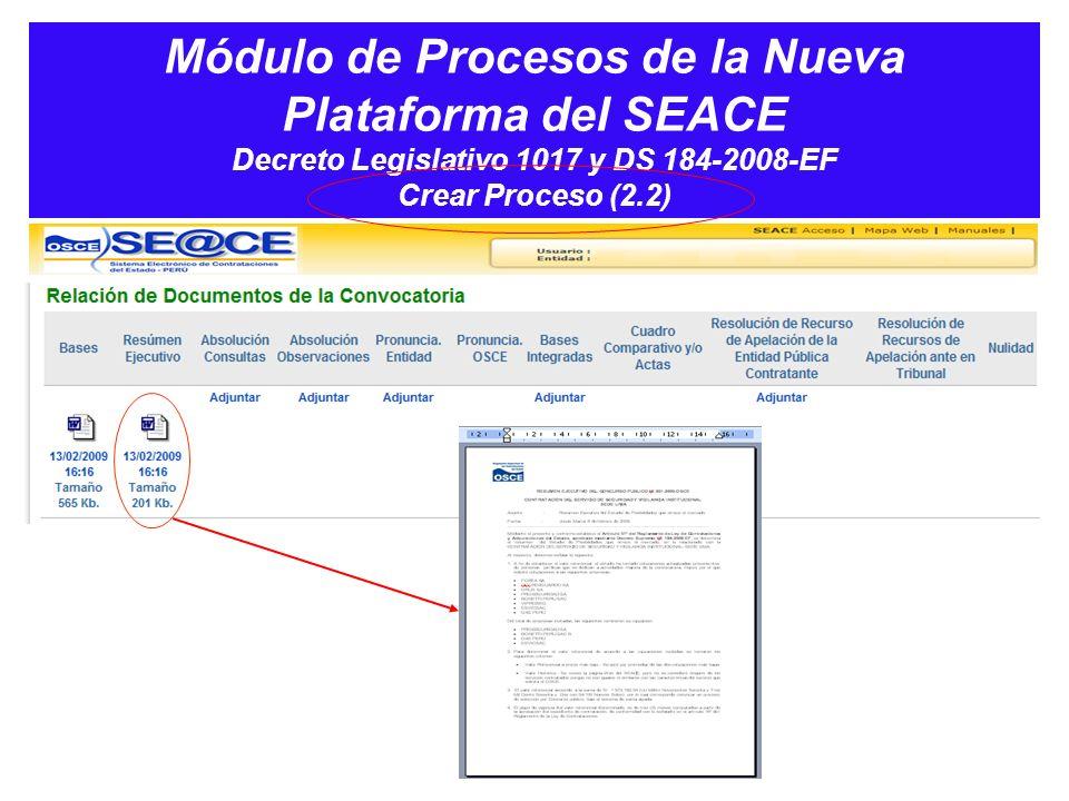 Módulo de Procesos de la Nueva Plataforma del SEACE Decreto Legislativo 1017 y DS 184-2008-EF Crear Proceso (2.2)