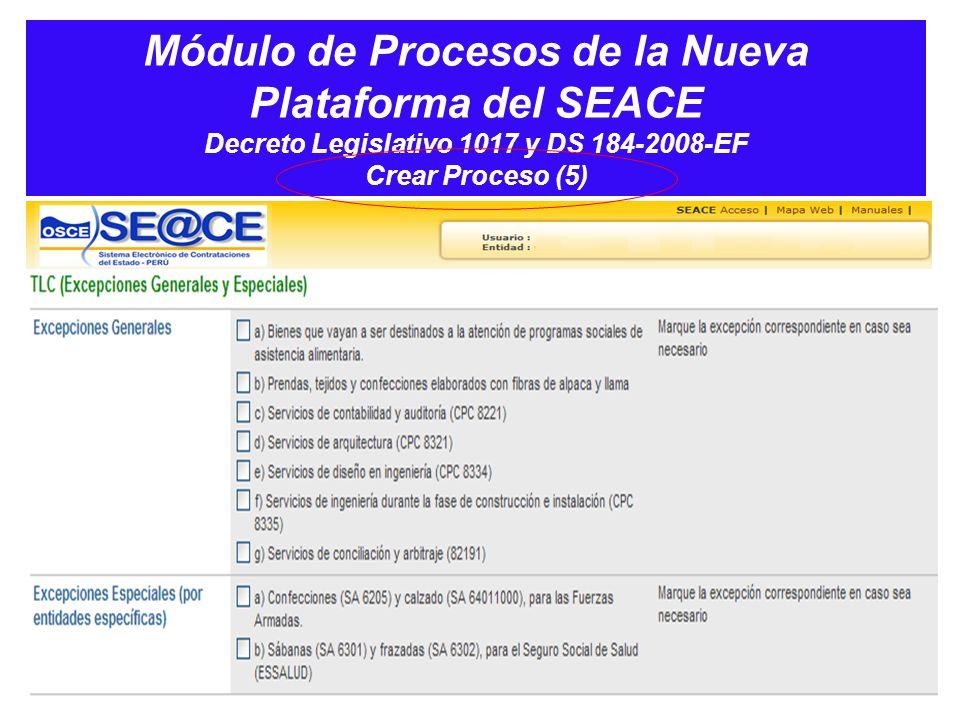 Módulo de Procesos de la Nueva Plataforma del SEACE Decreto Legislativo 1017 y DS 184-2008-EF Crear Proceso (5)