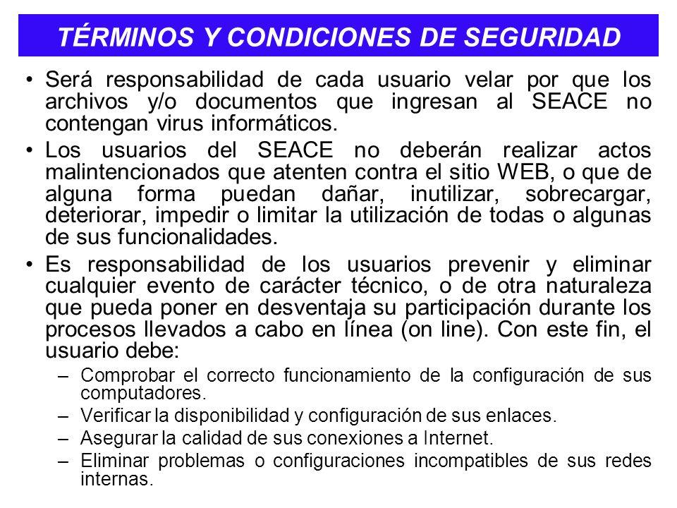 TÉRMINOS Y CONDICIONES DE SEGURIDAD