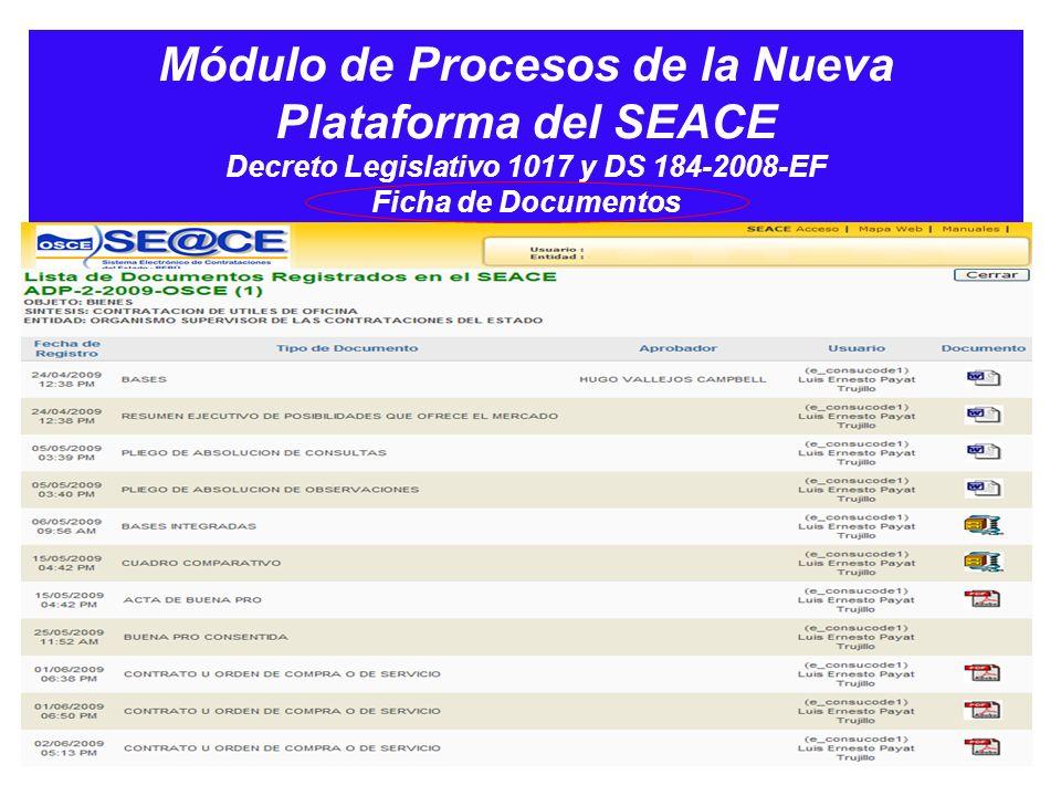 Módulo de Procesos de la Nueva Plataforma del SEACE Decreto Legislativo 1017 y DS 184-2008-EF Ficha de Documentos