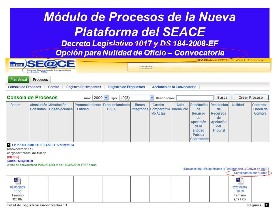 Módulo de Procesos de la Nueva Plataforma del SEACE Decreto Legislativo 1017 y DS 184-2008-EF Opción para Nulidad de Oficio – Convocatoria