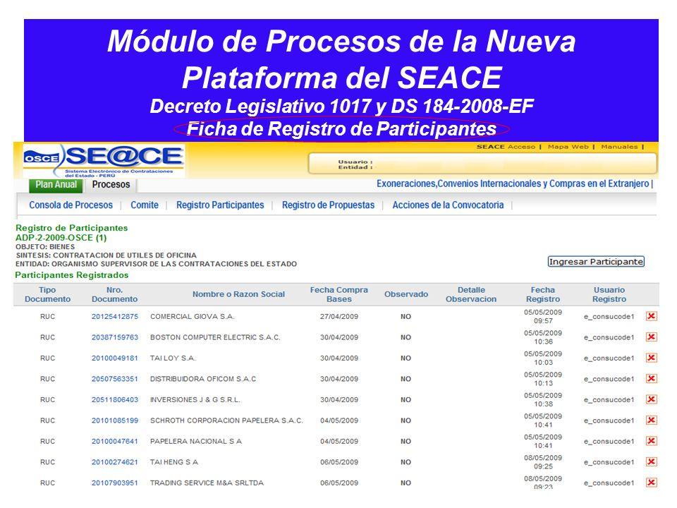 Módulo de Procesos de la Nueva Plataforma del SEACE Decreto Legislativo 1017 y DS 184-2008-EF Ficha de Registro de Participantes