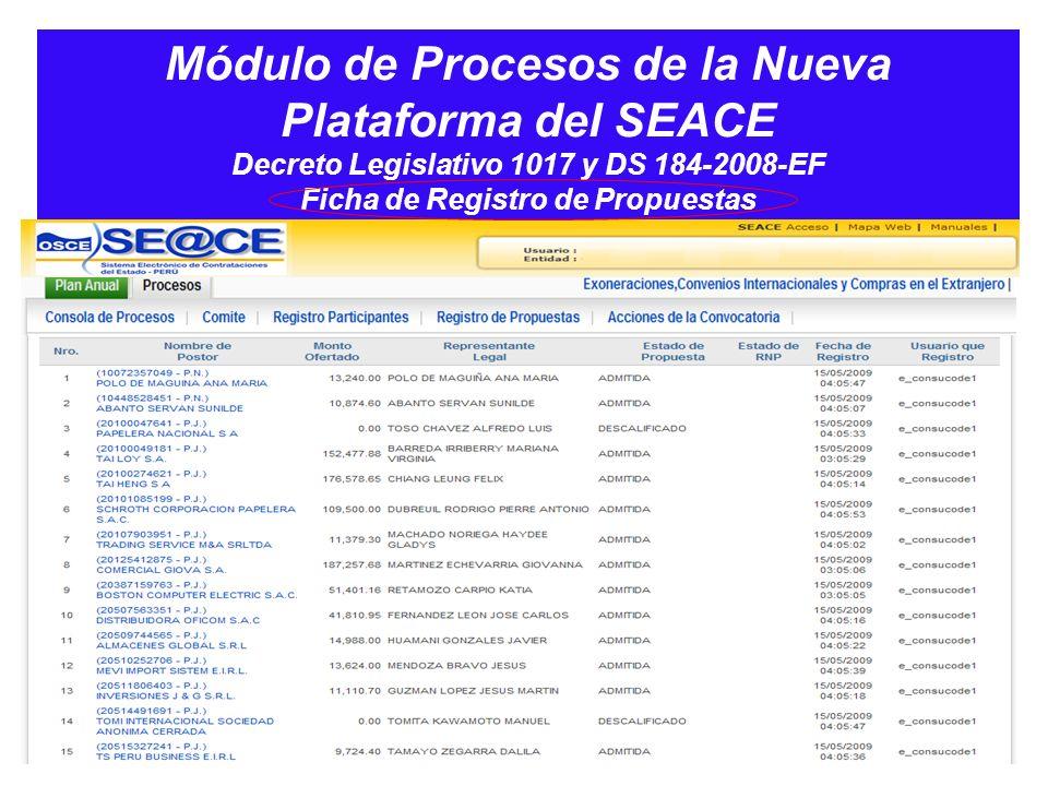 Módulo de Procesos de la Nueva Plataforma del SEACE Decreto Legislativo 1017 y DS 184-2008-EF Ficha de Registro de Propuestas