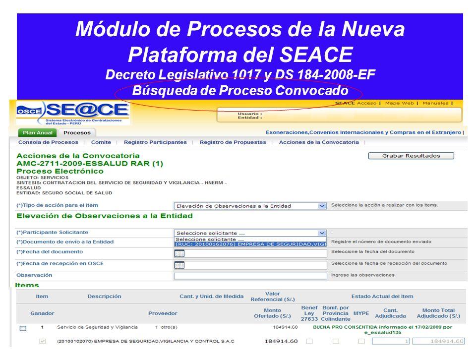 Módulo de Procesos de la Nueva Plataforma del SEACE Decreto Legislativo 1017 y DS 184-2008-EF Búsqueda de Proceso Convocado