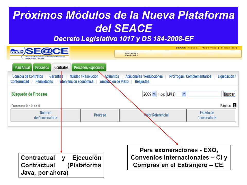 Próximos Módulos de la Nueva Plataforma del SEACE Decreto Legislativo 1017 y DS 184-2008-EF