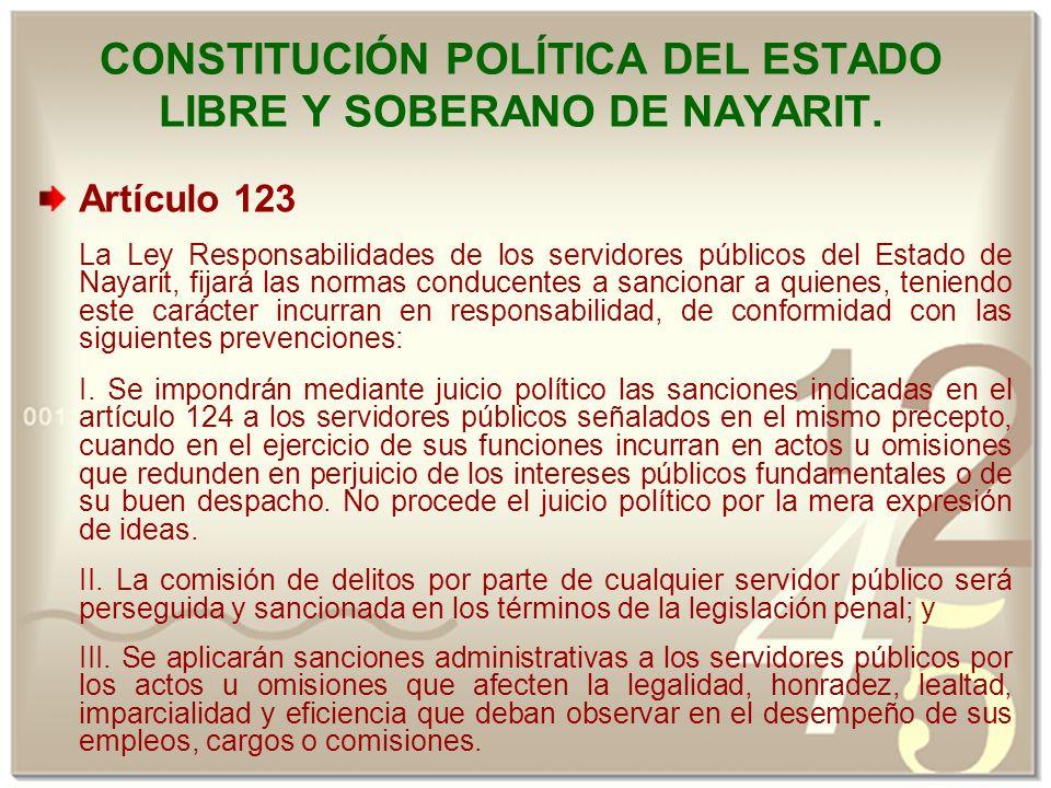 CONSTITUCIÓN POLÍTICA DEL ESTADO LIBRE Y SOBERANO DE NAYARIT.