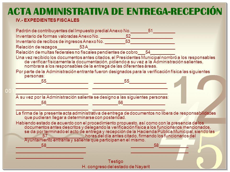 ACTA ADMINISTRATIVA DE ENTREGA-RECEPCIÓN