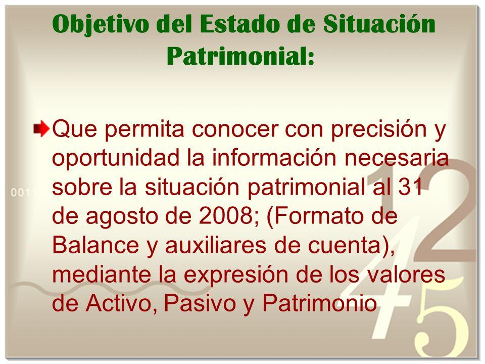 Objetivo del Estado de Situación Patrimonial: