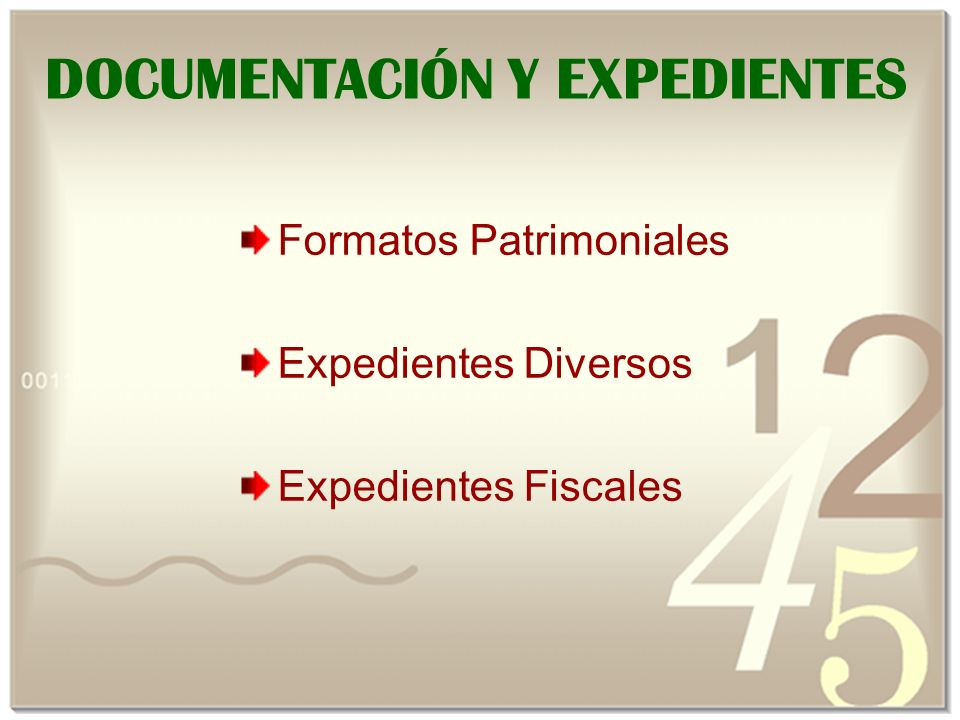 DOCUMENTACIÓN Y EXPEDIENTES
