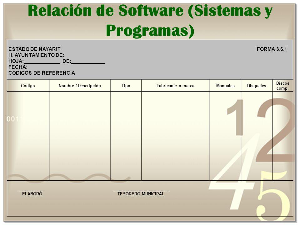 Relación de Software (Sistemas y Programas)