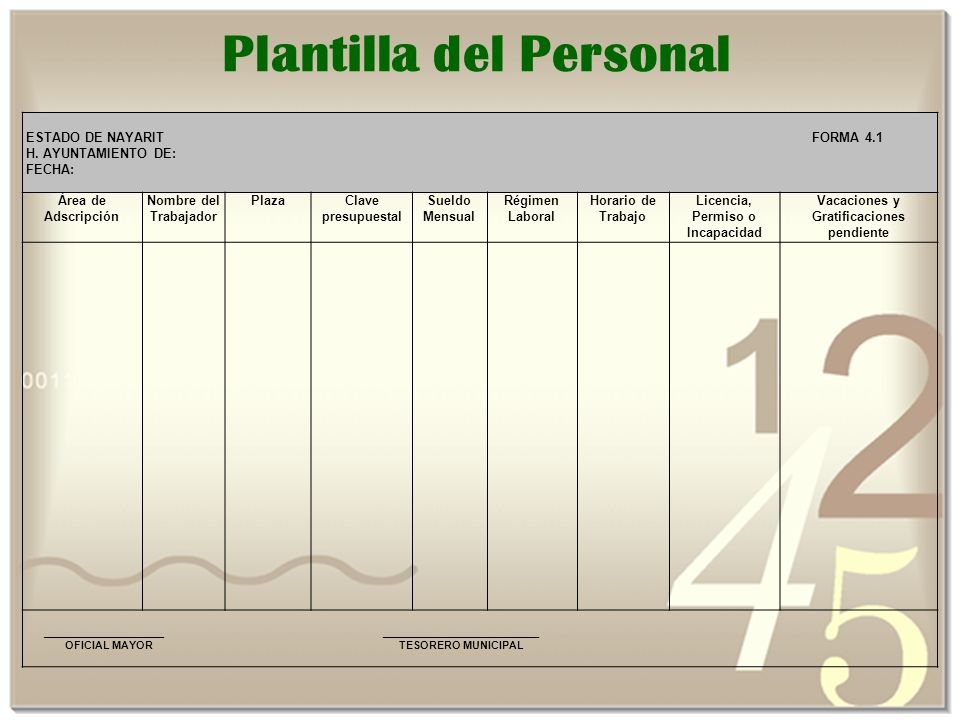 Plantilla del Personal