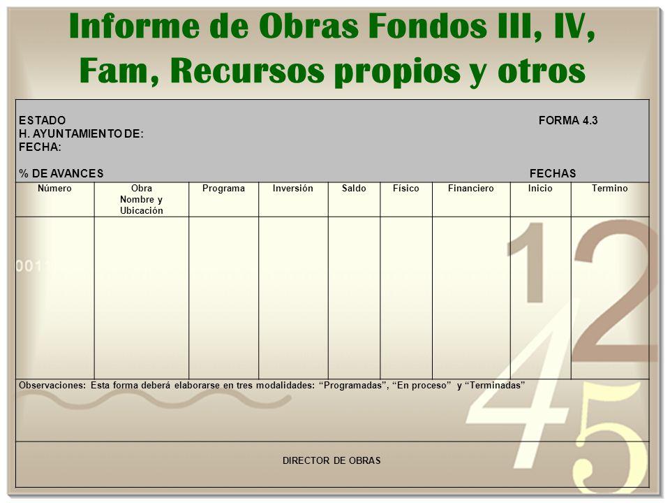 Informe de Obras Fondos III, IV, Fam, Recursos propios y otros
