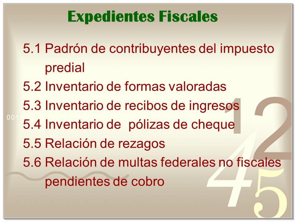 Expedientes Fiscales 5.1 Padrón de contribuyentes del impuesto predial
