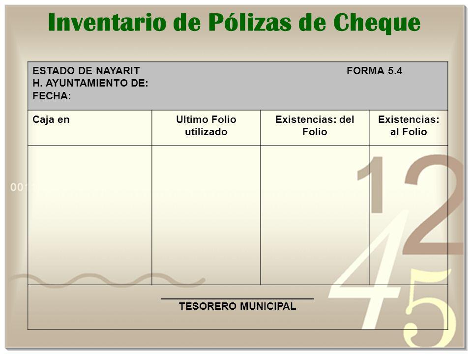 Inventario de Pólizas de Cheque