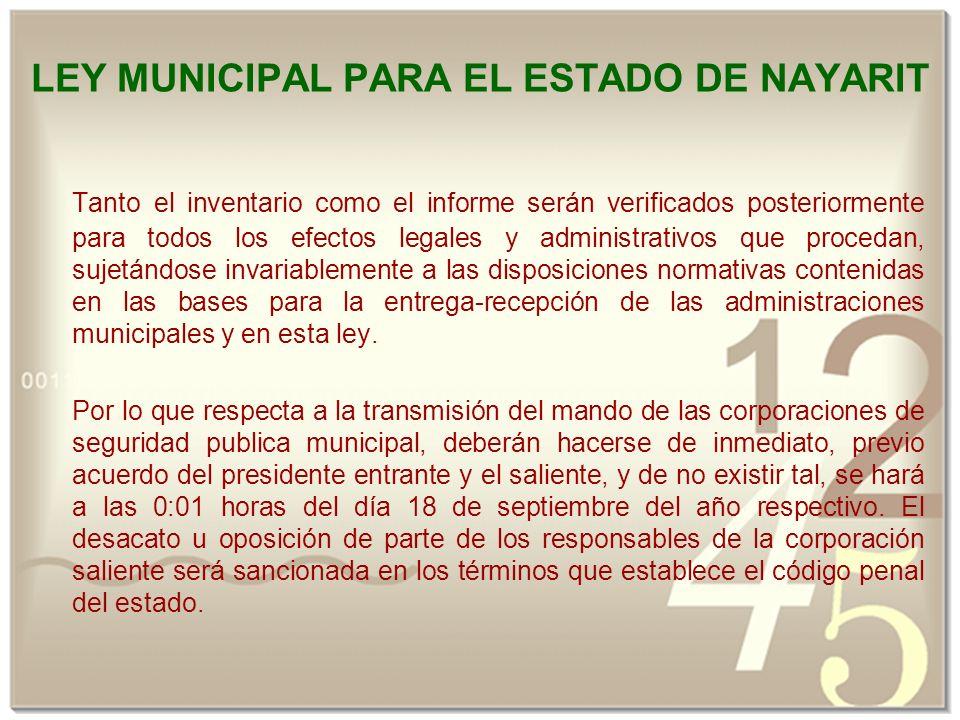 LEY MUNICIPAL PARA EL ESTADO DE NAYARIT