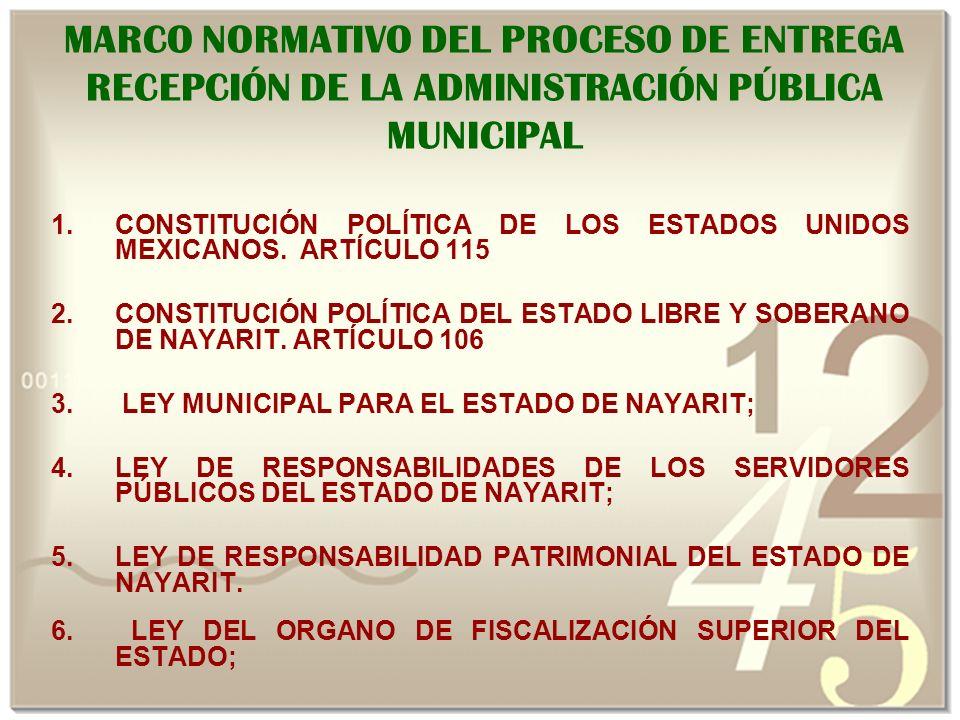 MARCO NORMATIVO DEL PROCESO DE ENTREGA RECEPCIÓN DE LA ADMINISTRACIÓN PÚBLICA MUNICIPAL