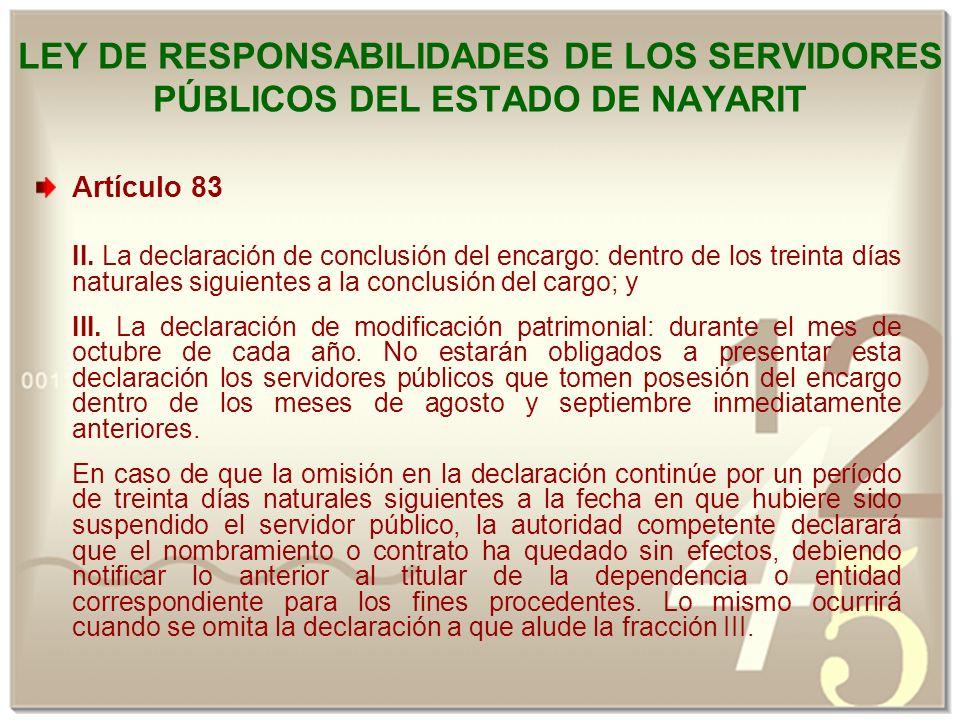 LEY DE RESPONSABILIDADES DE LOS SERVIDORES PÚBLICOS DEL ESTADO DE NAYARIT