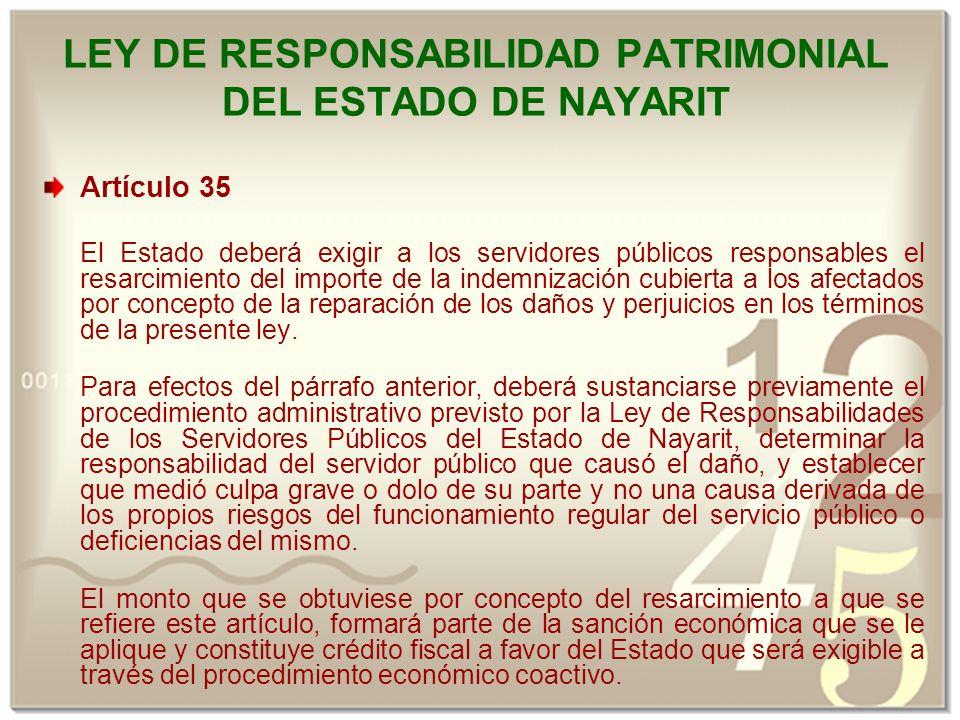 LEY DE RESPONSABILIDAD PATRIMONIAL DEL ESTADO DE NAYARIT