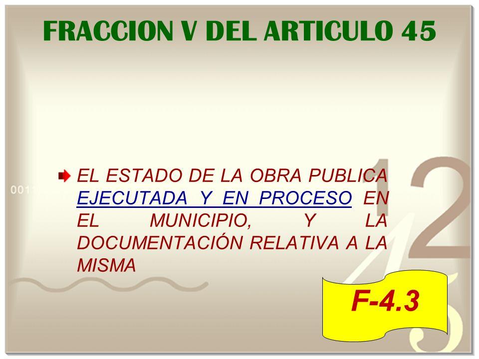 FRACCION V DEL ARTICULO 45