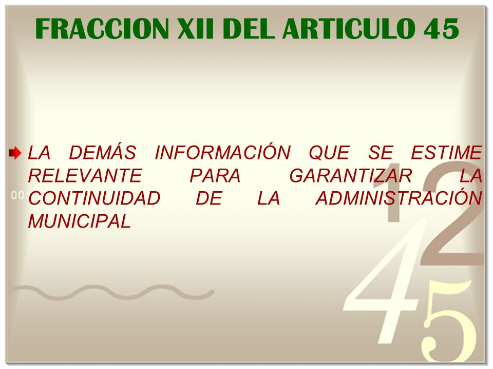 FRACCION XII DEL ARTICULO 45