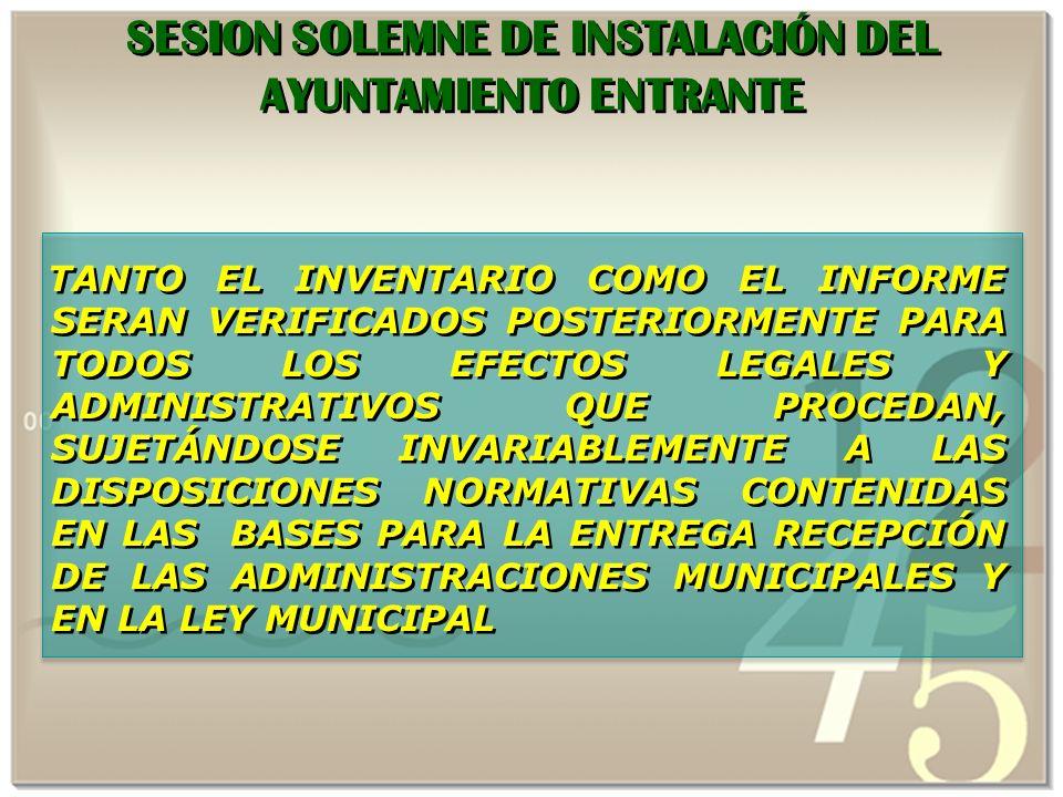 SESION SOLEMNE DE INSTALACIÓN DEL AYUNTAMIENTO ENTRANTE