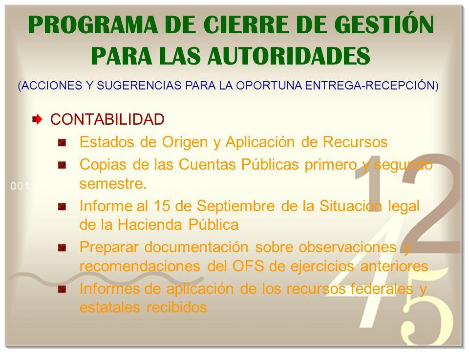 PROGRAMA DE CIERRE DE GESTIÓN PARA LAS AUTORIDADES