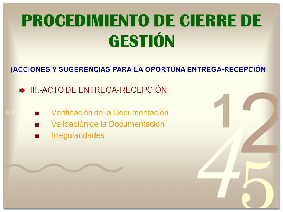 PROCEDIMIENTO DE CIERRE DE GESTIÓN