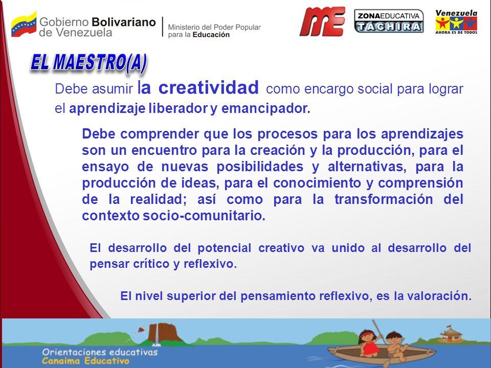 EL MAESTRO(A) Debe asumir la creatividad como encargo social para lograr el aprendizaje liberador y emancipador.