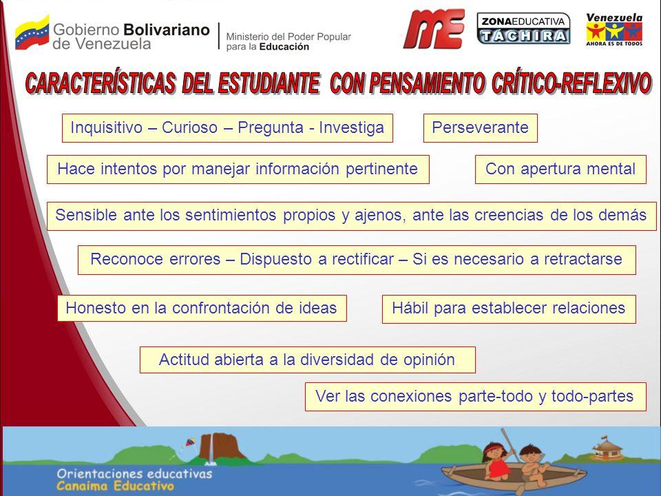CARACTERÍSTICAS DEL ESTUDIANTE CON PENSAMIENTO CRÍTICO-REFLEXIVO