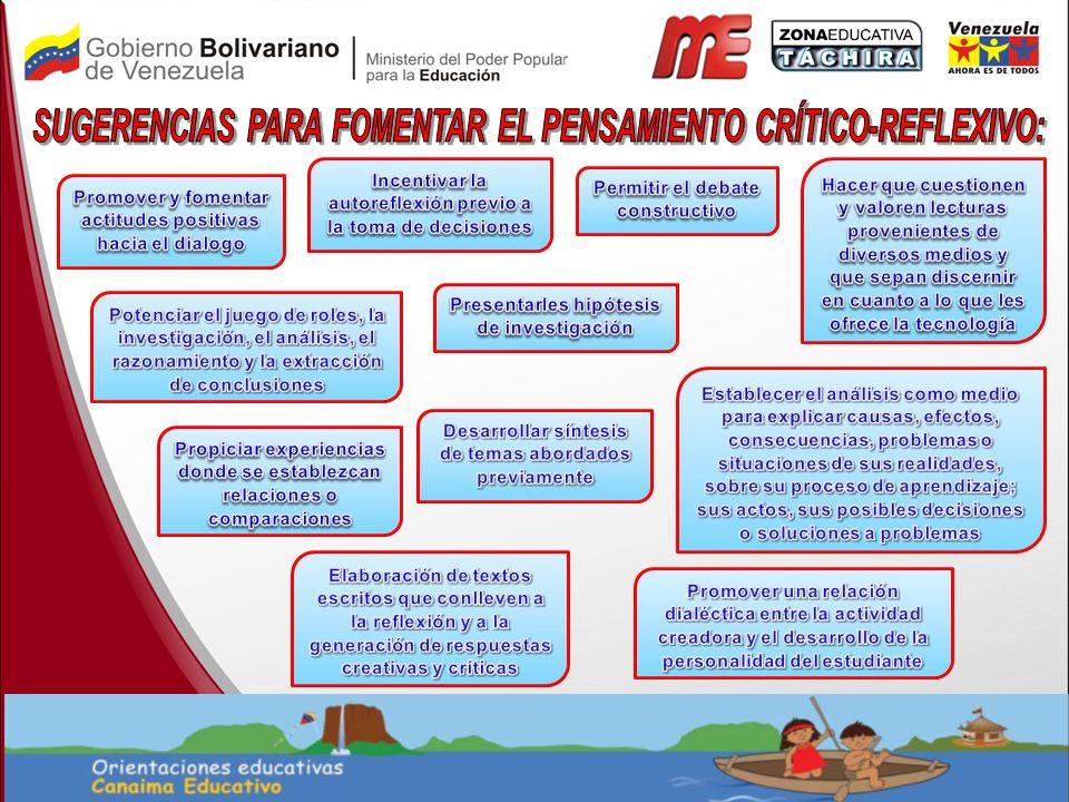 SUGERENCIAS PARA FOMENTAR EL PENSAMIENTO CRÍTICO-REFLEXIVO: