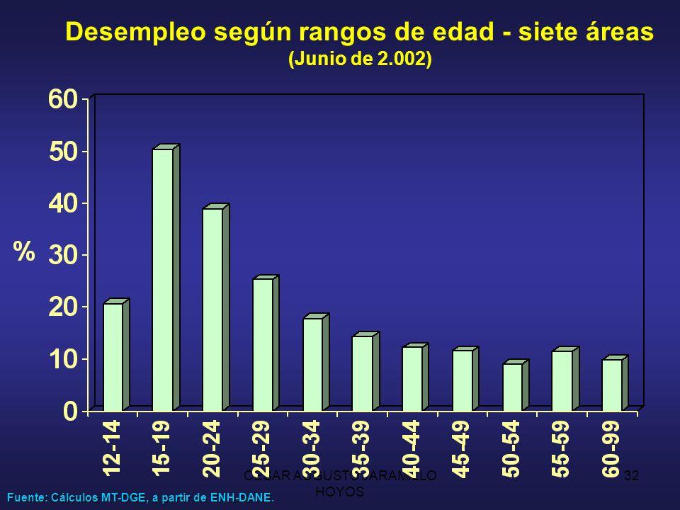 Desempleo según rangos de edad - siete áreas (Junio de 2.002)