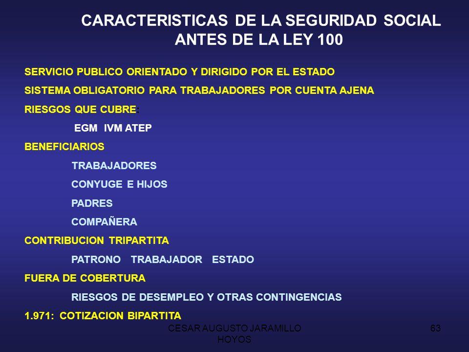 CARACTERISTICAS DE LA SEGURIDAD SOCIAL