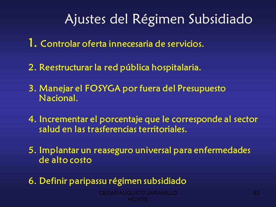 Ajustes del Régimen Subsidiado