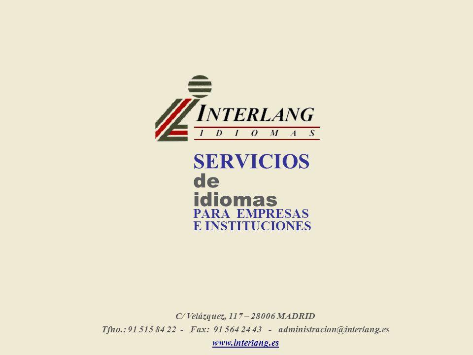 SERVICIOS de idiomas PARA EMPRESAS E INSTITUCIONES