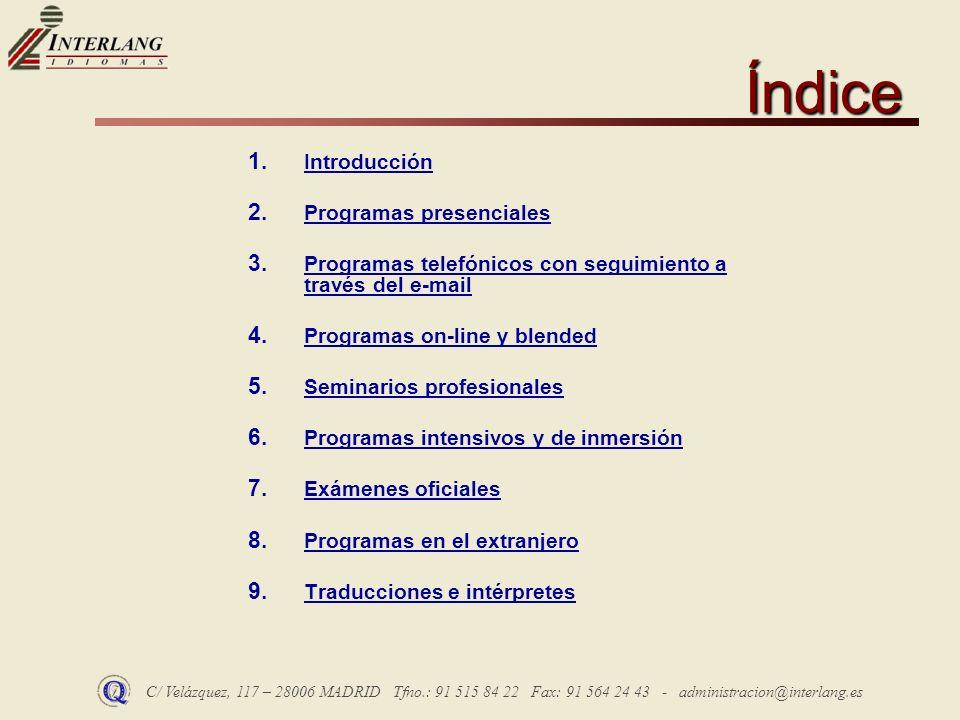 Índice Introducción Programas presenciales