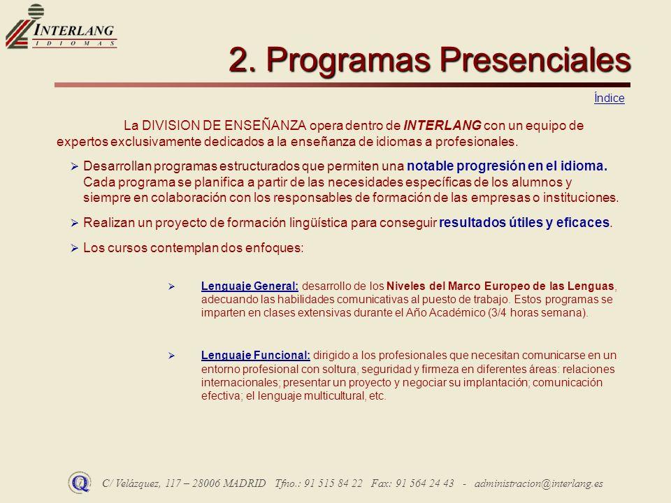 2. Programas Presenciales