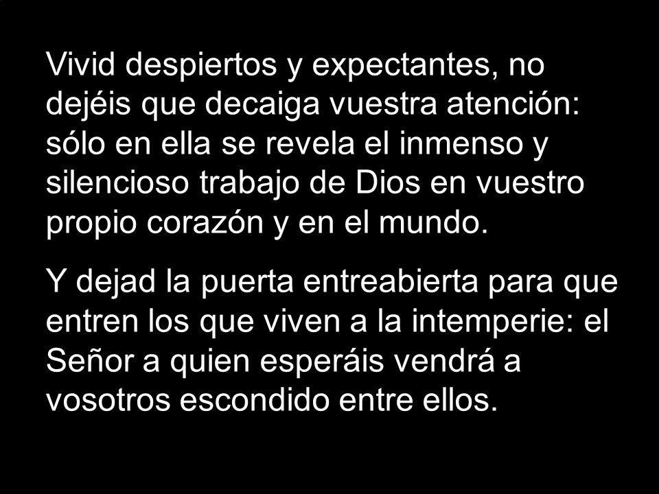 Vivid despiertos y expectantes, no dejéis que decaiga vuestra atención: sólo en ella se revela el inmenso y silencioso trabajo de Dios en vuestro propio corazón y en el mundo.