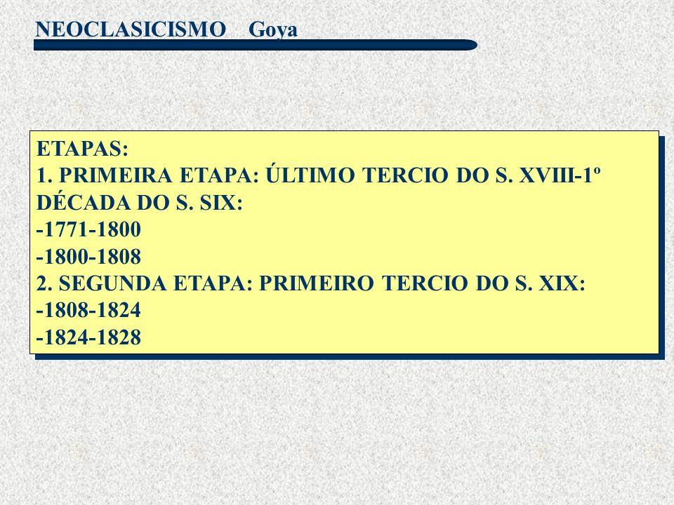 Goya ETAPAS: 1. PRIMEIRA ETAPA: ÚLTIMO TERCIO DO S. XVIII-1º DÉCADA DO S. SIX: -1771-1800. -1800-1808.