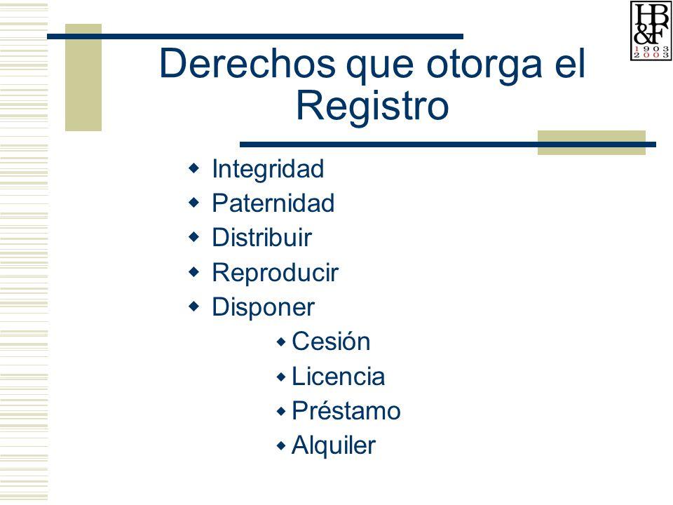 Derechos que otorga el Registro