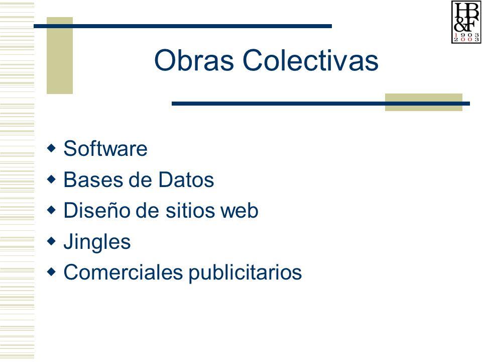 Obras Colectivas Software Bases de Datos Diseño de sitios web Jingles