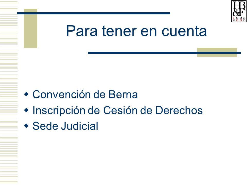 Para tener en cuenta Convención de Berna