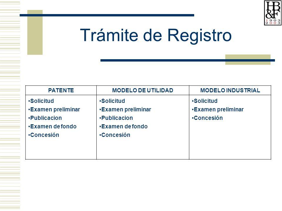 Trámite de Registro PATENTE MODELO DE UTILIDAD MODELO INDUSTRIAL