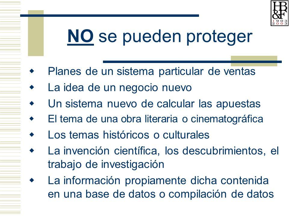 NO se pueden proteger Planes de un sistema particular de ventas